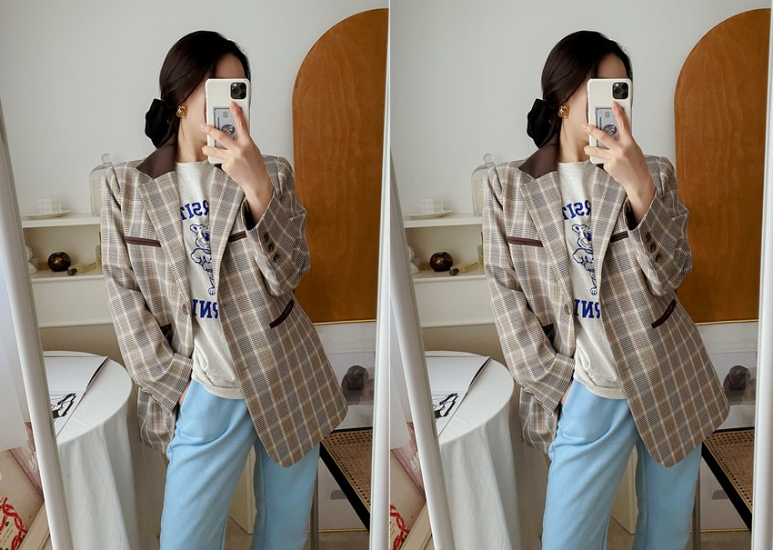 myclassy-Retro check jacket♡韓國女裝外套