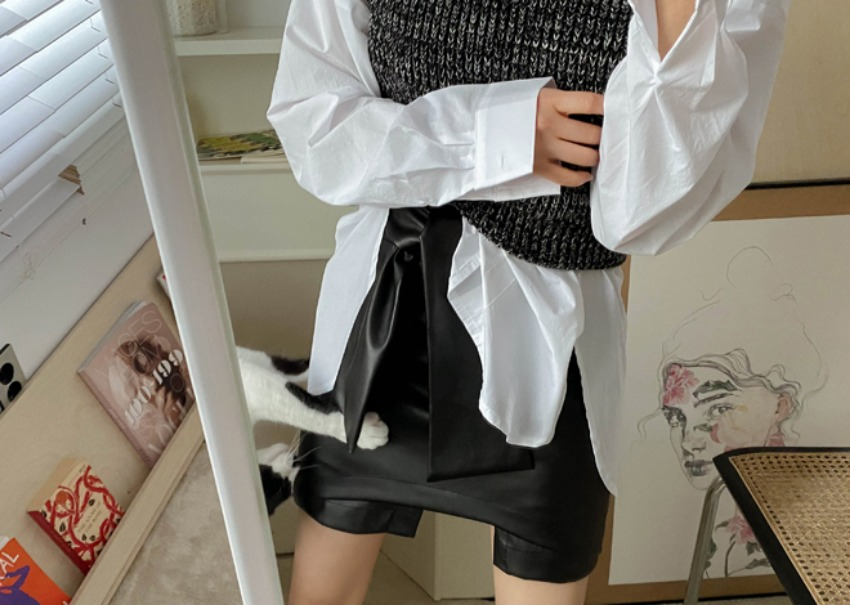 myclassy-Viola leather skirt♡韓國女裝裙