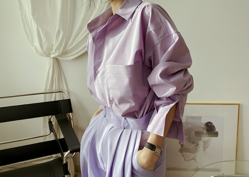 myclassy-Clean over shirt *[purple]♡韓國女裝上衣