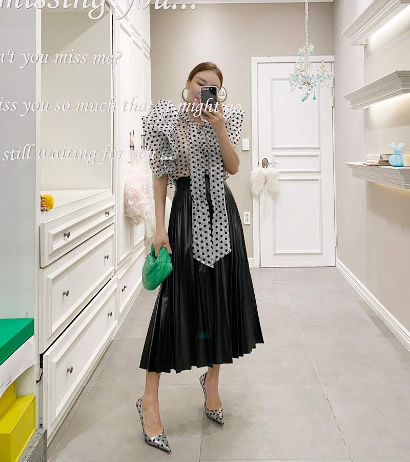 walkingcoco-accordion long skirt (black)♡韓國女裝裙