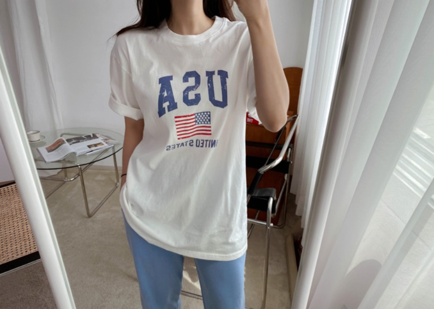 myclassy-USA Wash T-shirt♡韓國女裝上衣