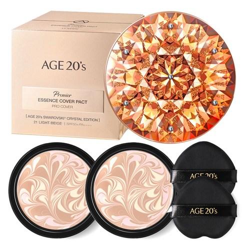 AGE20'S 프리미어 스와로브스키 쿠션 파운데이션 케이스 + 리필 14g x 2p + 퍼프21호♡韓國氣墊粉餅
