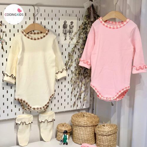 cooingkids-베이비옷 - G토깽이체크슈트(보넷+양말세트)♡韓國幼兒裝