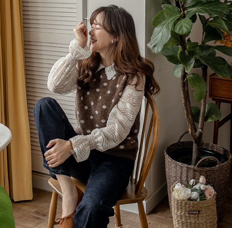 leelin-[포네 도트 알파카 베스트[size:F(55~66)]]♡韓國女裝上衣