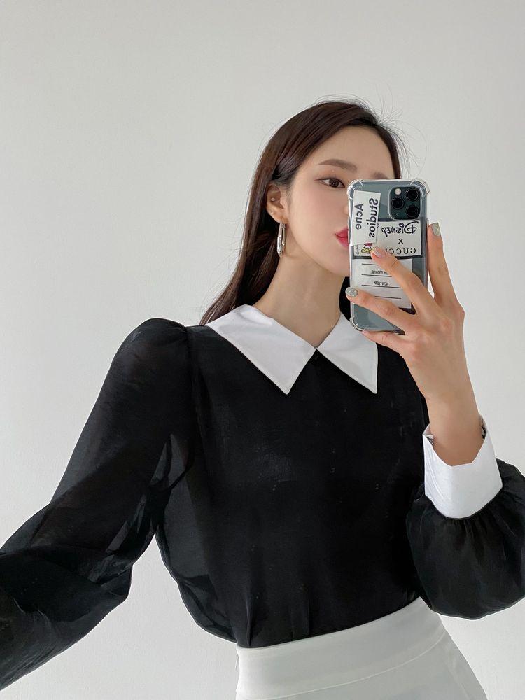 ppgirl-봄 퍼프카라 블라우스bl G630♡韓國女裝上衣