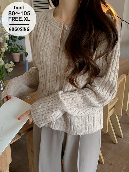 ggsing-[주말동안9%할인]꽈배기 울가디건 (7게이지2합,울50%,가둘레,무료배송)♡韓國女裝外套