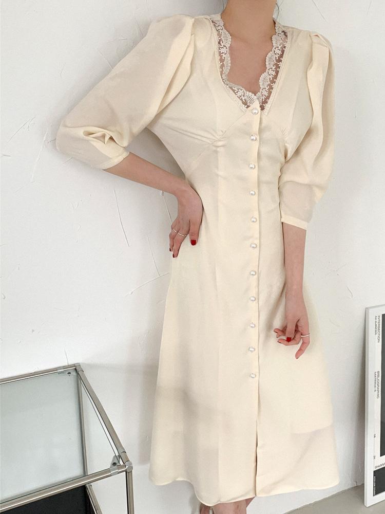 ppgirl-레이스 셔링 롱원피스ops G633♡韓國女裝連身裙