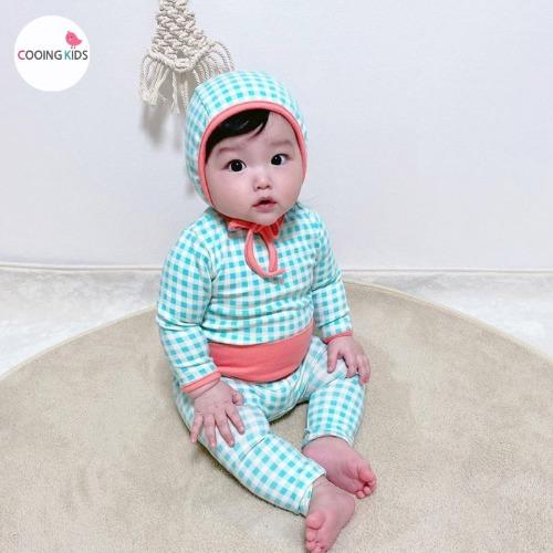 cooingkids-베이비옷 - G첵첵실내복세트(보넷포함)♡韓國幼兒裝