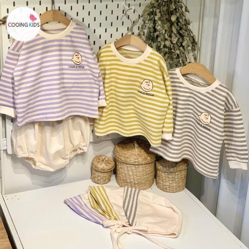 cooingkids-베이비옷 - G라운블루머3종세트(티+블루머+보넷)♡韓國幼兒裝