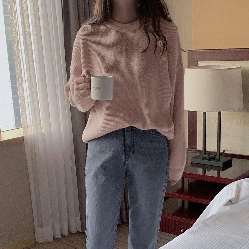 laurenhi-헤른 에어캐시울 골지 라운드 니트 - 5 color  ♡韓國女裝上衣