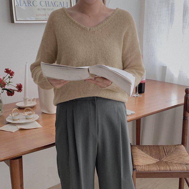 laurenhi-레빌 알파카 브이넥 니트 - 5 color  ♡韓國女裝上衣