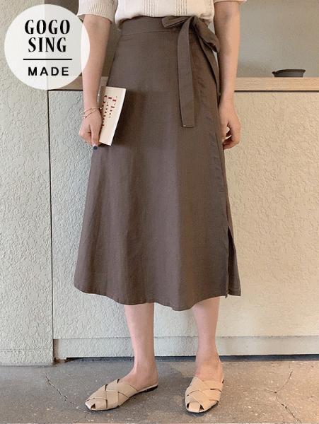 ggsing-[무료배송]사이드리본린넨스커트 (스판,허리스트랩)♡韓國女裝裙