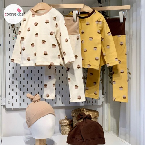 cooingkids-베이비옷 - G토토실내복세트(보넷포함)♡韓國幼兒裝