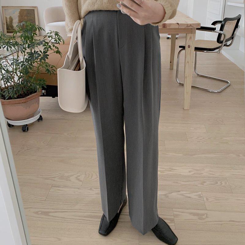 laurenhi-센브 투핀턱 와이드 롱 슬랙스 팬츠 - 4 color  ♡韓國女裝褲
