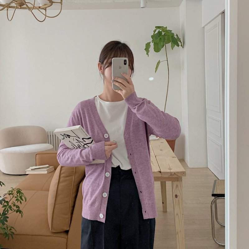 laurenhi-센너 비스코스 브이넥 가디건 - 10 color  ♡韓國女裝外套