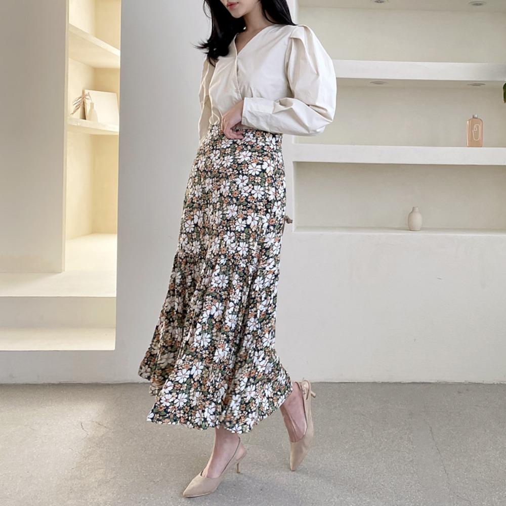 ppgirl-플라워 주름 롱스커트sk G639♡韓國女裝裙