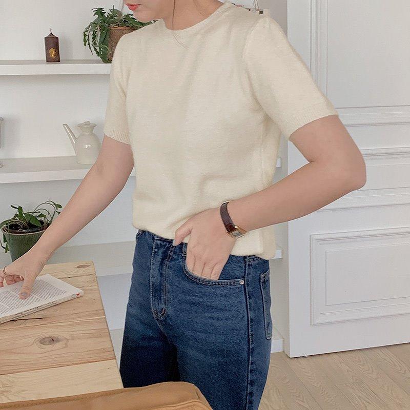 laurenhi-프레어 앙고라 반팔 니트 - 5 color  ♡韓國女裝上衣