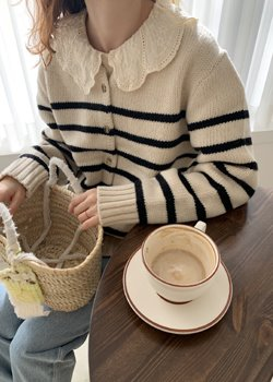 ifgirl-스트라이프 가디건 (2color)♡韓國女裝外套