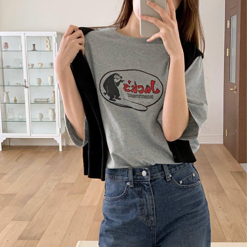 laurenhi-베터 프린팅 반팔 기모 티셔츠 - 4 color  ♡韓國女裝上衣