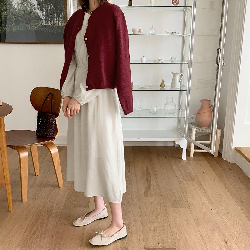 laurenhi-바더 셔링 롱 원피스 - 2 color  ♡韓國女裝連身裙