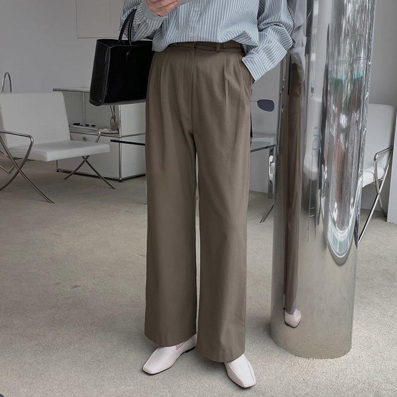 laurenhi-로컨 핀턱 버클 기모 슬랙스 팬츠 - 3 color  ♡韓國女裝褲