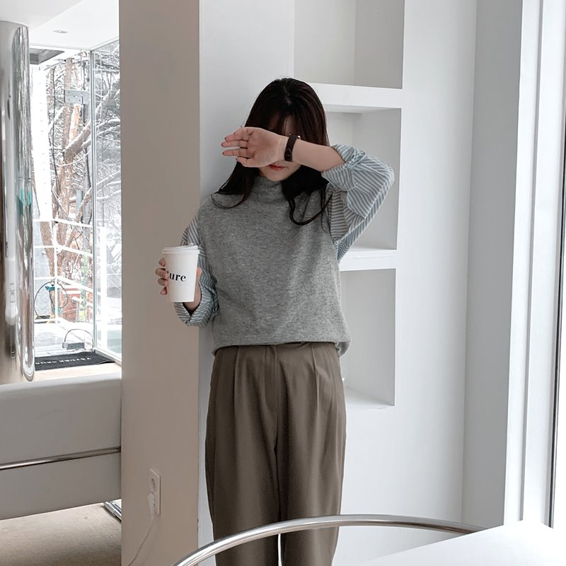 laurenhi-코미 캐시미어 반폴라 니트 베스트 - 6 color  ♡韓國女裝上衣