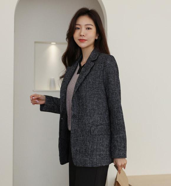 justone-부키 트위드 싱글자켓♡韓國女裝外套