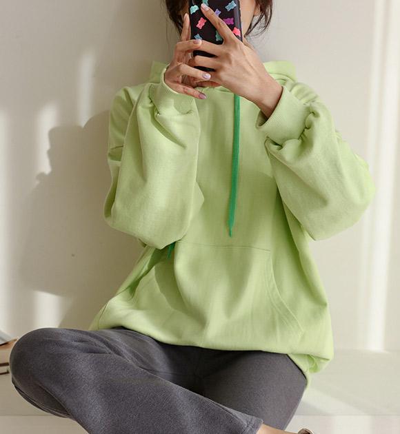 justone-포안 여유핏 쭈리 후드맨투맨♡韓國女裝上衣