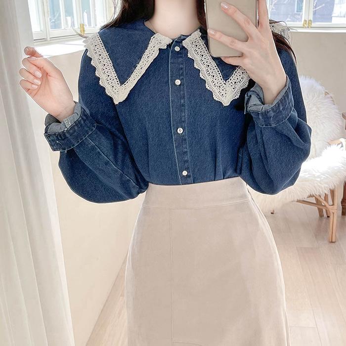myfiona-세라카라 루즈핏 데님청셔츠 a1198 - 러블리 로맨틱룩 1위 쇼핑몰 피오나♡韓國女裝上衣
