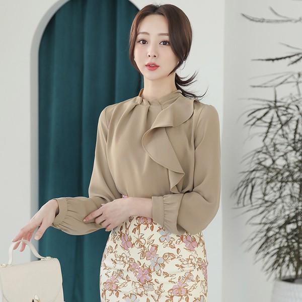 ode-[핀턱 셔링넥 언발 러플 블라우스]♡韓國女裝上衣
