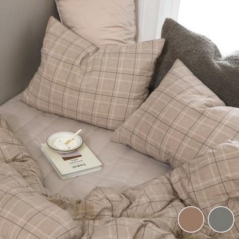 100%韓國製防塵蟎純棉格紋枕頭袋(1個)