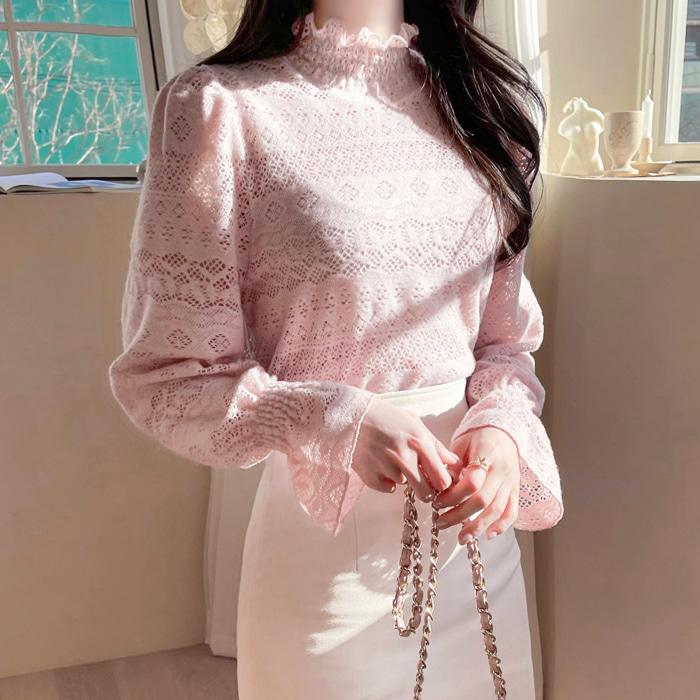 myfiona-에델레이스 프릴폴라 블라우스 a1214 - 러블리 로맨틱룩 1위 쇼핑몰 피오나♡韓國女裝上衣