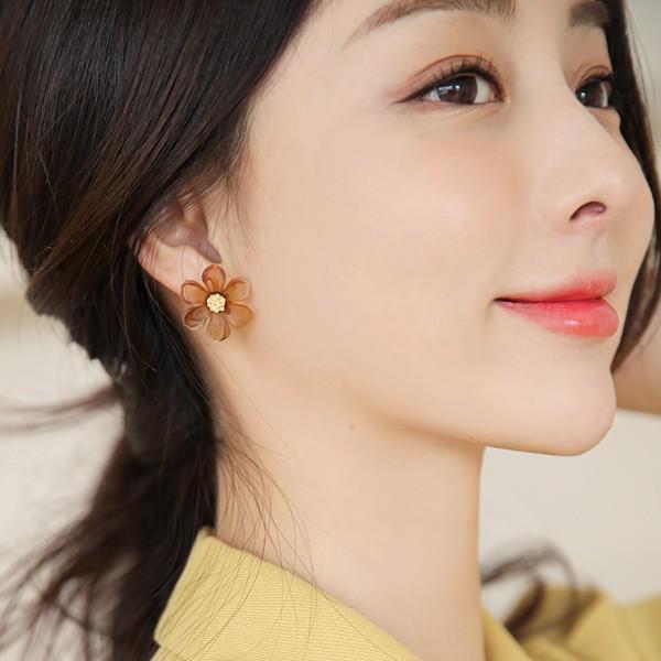 ode-[무광 플라워 골드포인트 귀걸이]♡韓國女裝飾品