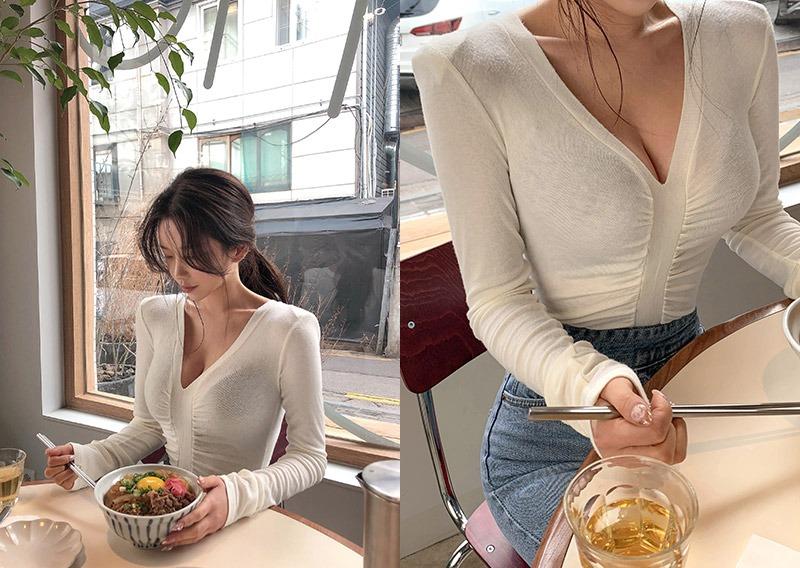 maybins-메크 셔링 티셔츠♡韓國女裝上衣