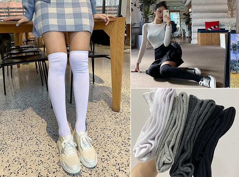uuzone-무지오버니삭스 양말 니삭스 무지양말 데일리 캐주얼♡韓國女裝飾品