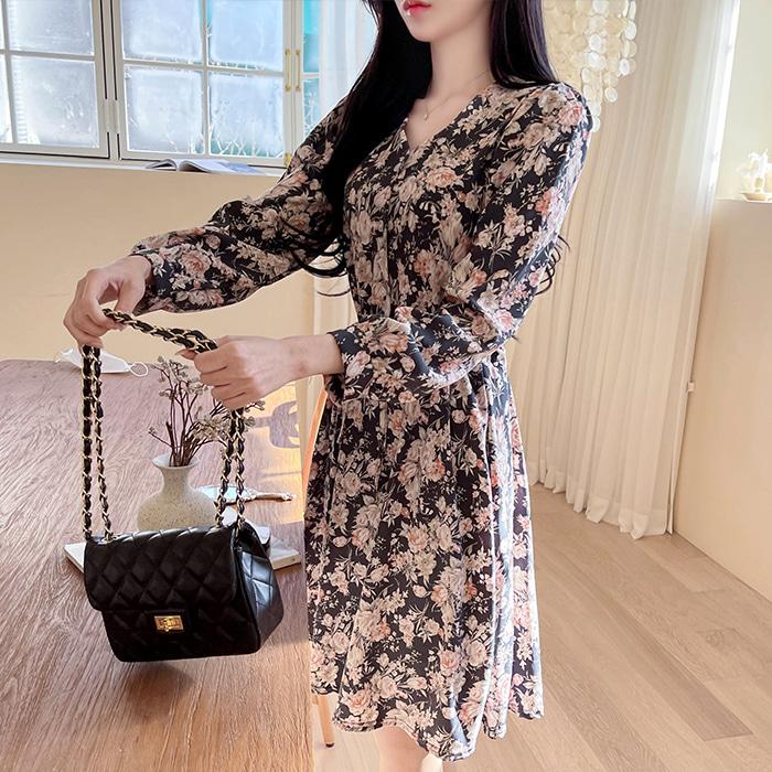 myfiona-베르사플라워 브이넥 스트링원피스 a1253 - 러블리 로맨틱룩 1위 쇼핑몰 피오나♡韓國女裝連身裙