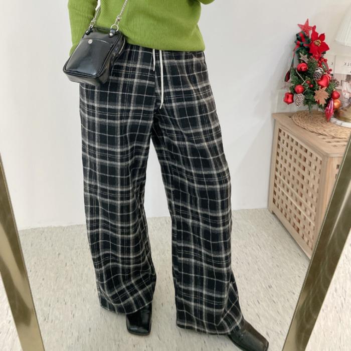 anndaly-컬링 체크팬츠 (2color)♡韓國女裝褲