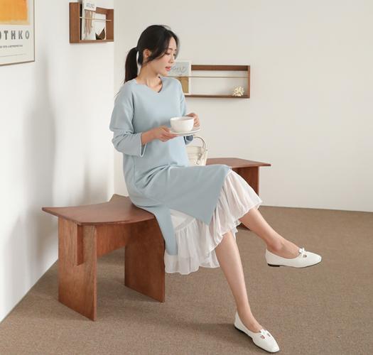 soim-[임부복*쉬폰프릴레이어드 임산부원피스]♡韓國孕婦裝連身裙