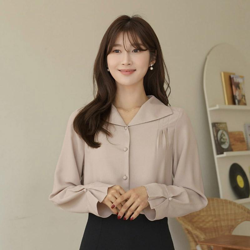 clicknfunny-[듀헵핀턱 카라블라우스]♡韓國女裝上衣