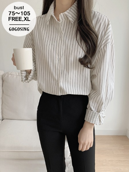 ggsing-[12일9시까지9%할인]웨이 스트라이프셔츠 (가둘레,루즈핏,무료배송)♡韓國女裝上衣