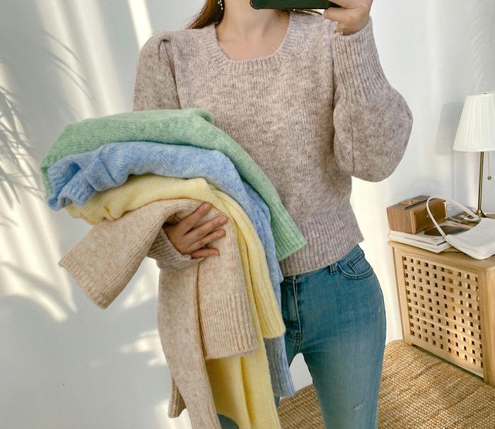 anndaly-팡팡 파스텔 포근니트 (5color)♡韓國女裝上衣