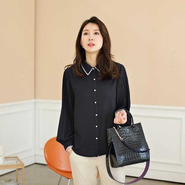 tiramisu-5063스티치소매주름블라우스♡韓國女裝上衣