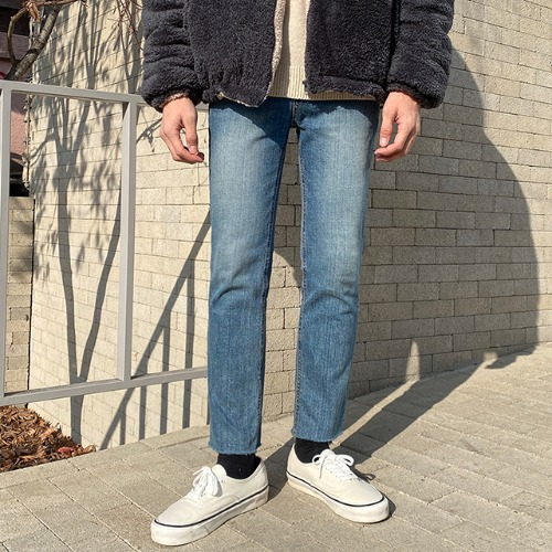 modernsweet-#77 워싱 컷팅 데님 팬츠(S~XL) - 모던스윗(modernsweet)♡韓國男裝褲子