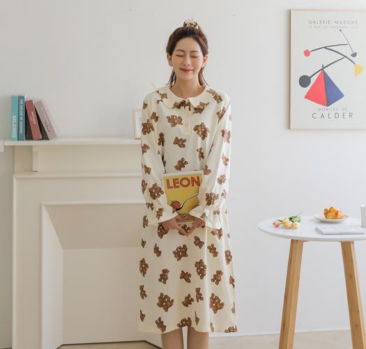 soim-[임부복*귀욤베어 파자마원피스(헤어끈 set)]♡韓國孕婦裝連身裙