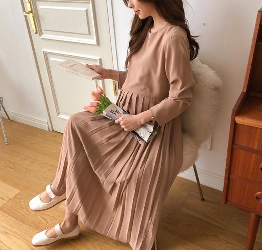 soim-[임부복*우아한플리츠조절 임산부원피스]♡韓國孕婦裝連身裙