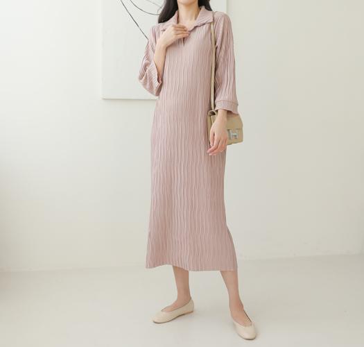 soim-[임부복*실키카라플리츠 임산부원피스]♡韓國孕婦裝連身裙