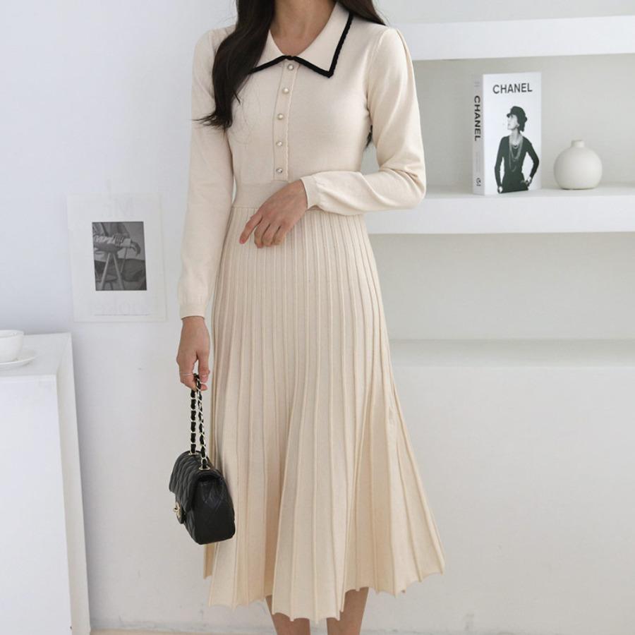 jjrella-콩알 진주 배색 카라 플리츠 니트 원피스♡韓國女裝連身裙