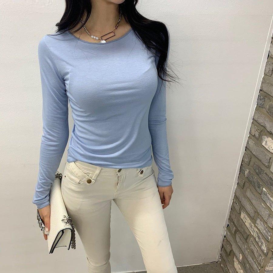 jjrella-스판 라운드넥 무지 긴팔 티셔츠♡韓國女裝上衣
