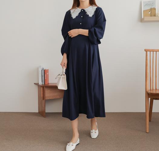 soim-[임부복*공주조절레이스카라 원피스(수유가능)]♡韓國孕婦裝連身裙