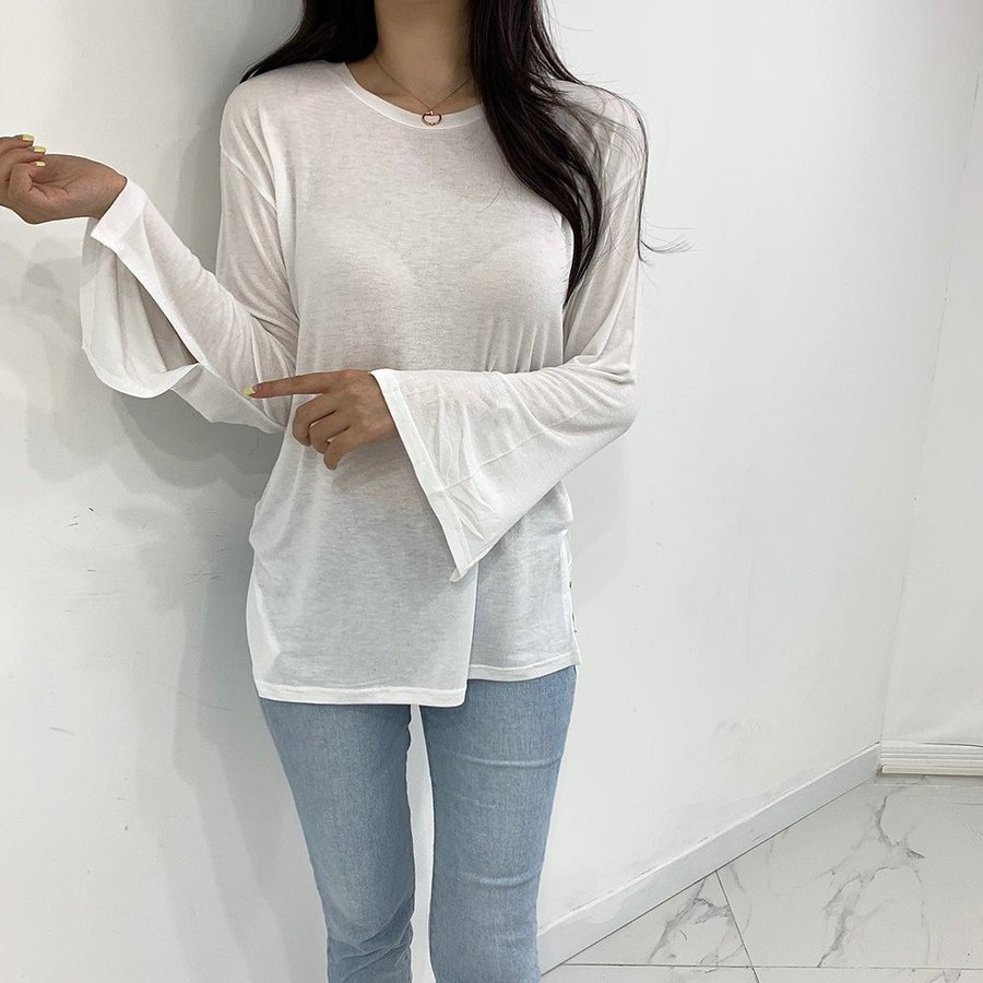 jjrella-소매 트임 라운드 티셔츠♡韓國女裝上衣